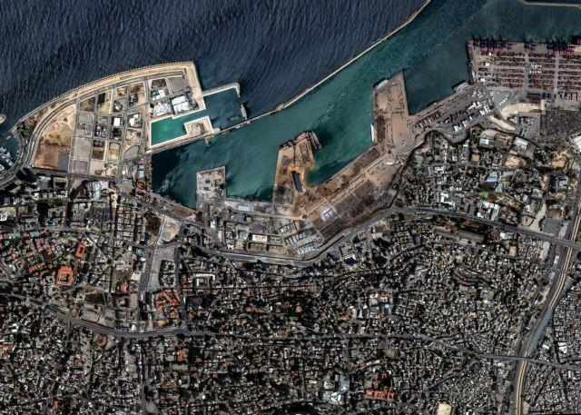 A satellite image shows damages following Tuesdays blast in the port area in Beirut