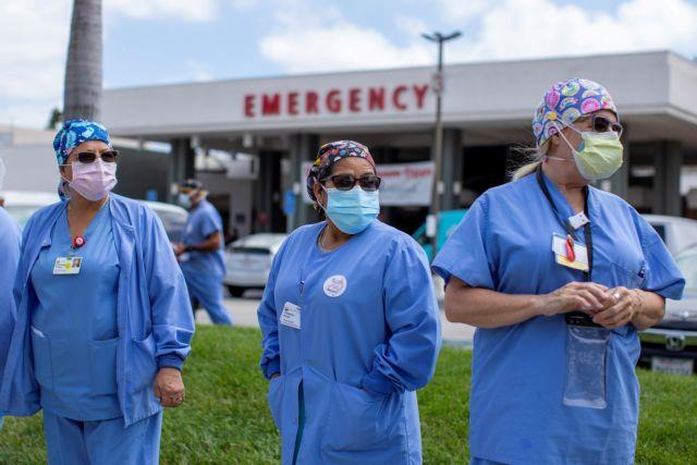 Healthcare workers protest outside their hospital during the outbreak of the coronavirus disease (COVID-19) in Fountain Valley, California